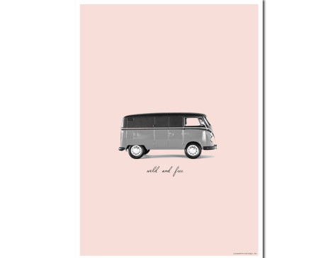 Affiche WIld and free - VW combi vintage